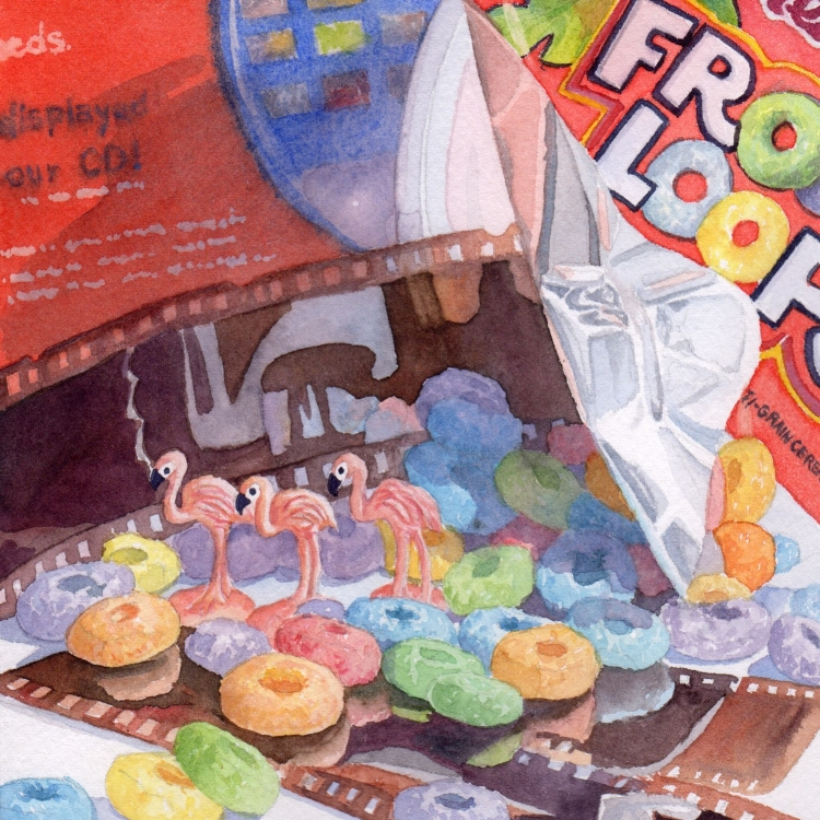 """SOLD """"Day 13 Froot Loops Flamingos and Film"""" watercolor by Lorraine Watry"""