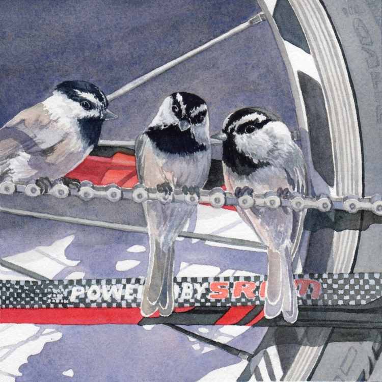 """NFS """"Day 14 Chickadees and Chain"""" watercolor by Lorraine Watry"""