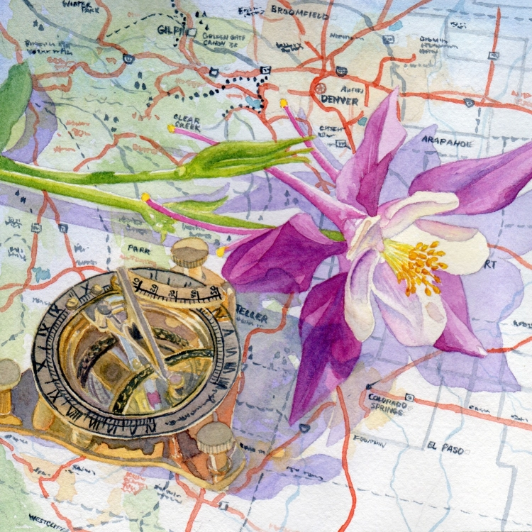 """SOLD """"Day 15 Compass Columbine and Colorado"""" watercolor by Lorraine Watry"""