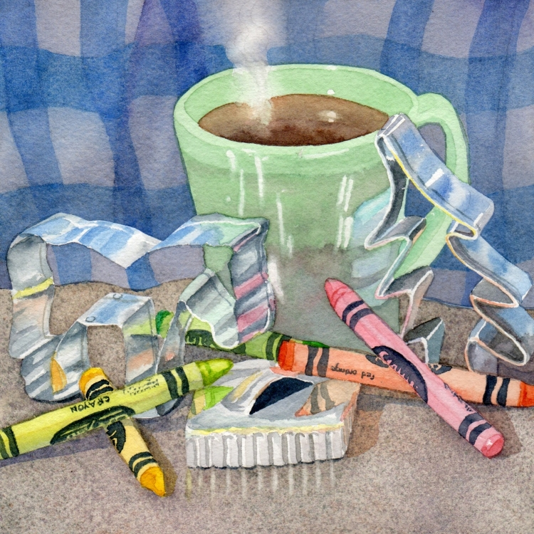 """SOLD """"Day 18 Cookie Cutters Crayons and Coffee"""" watercolor by Lorraine Watry"""