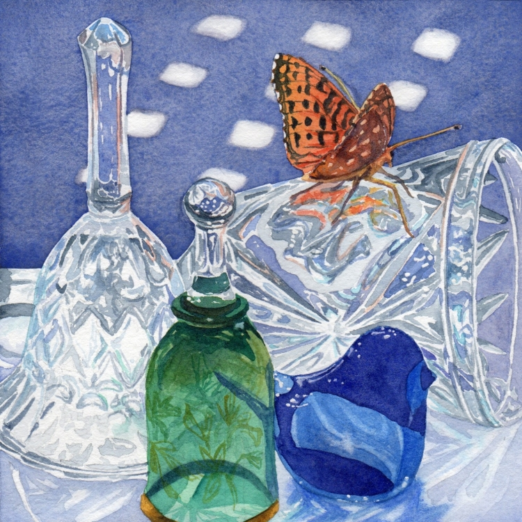 """SOLD """"Day 20 Bells Butterfly and Blue Bird"""" watercolor by Lorraine Watry"""