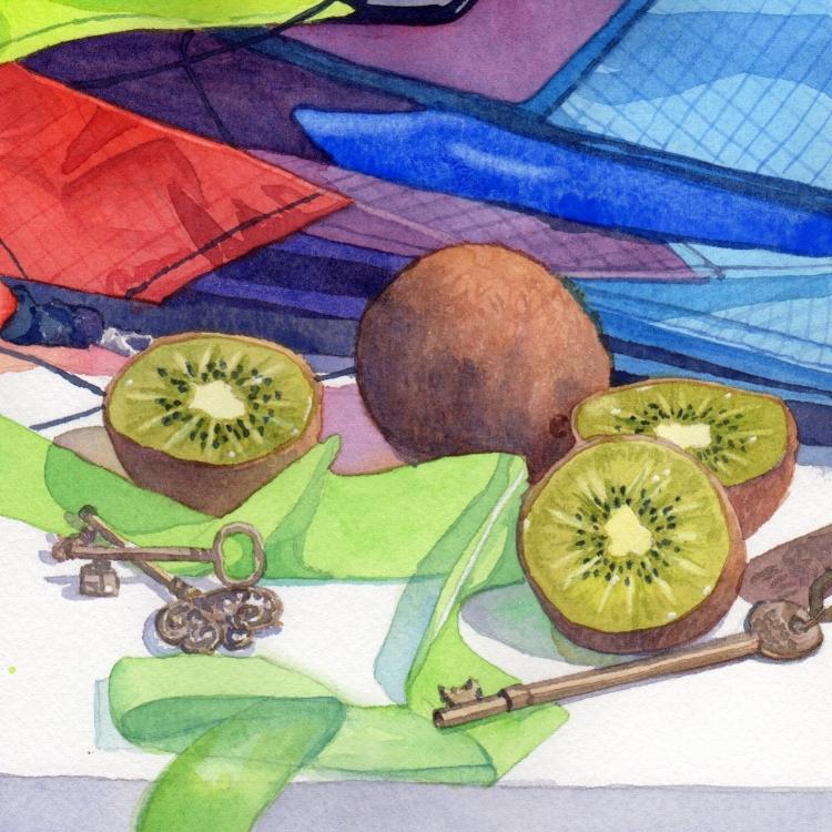 """Day 23 Kite Kiwi and Keys"" watercolor by Lorraine Watry"