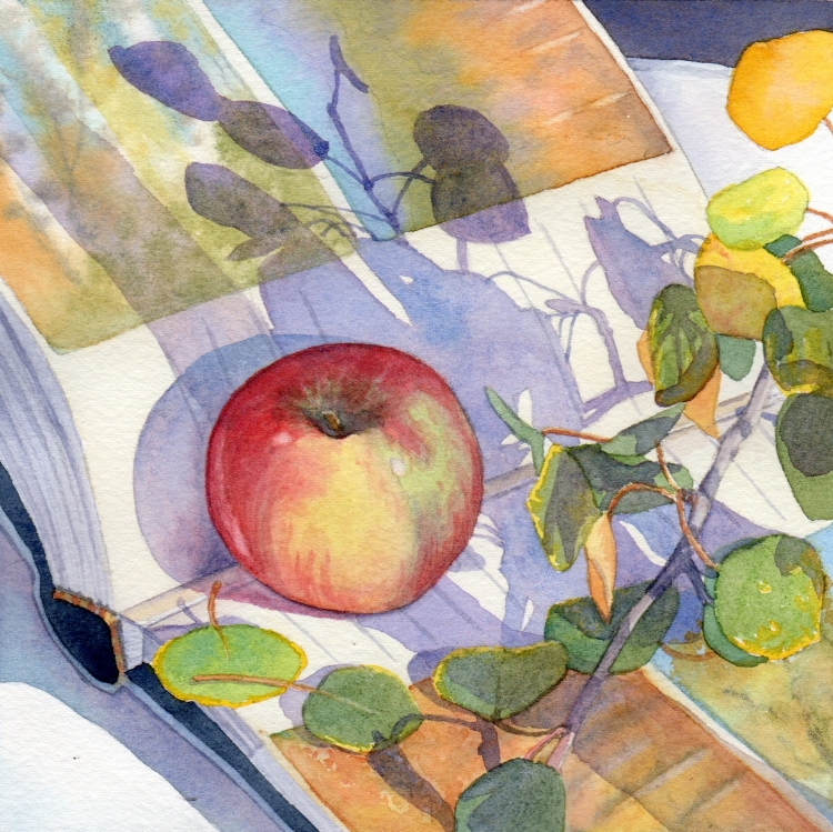 """SOLD """"Day 26 Aspen Apple and Album"""" watercolor by Lorraine Watry"""