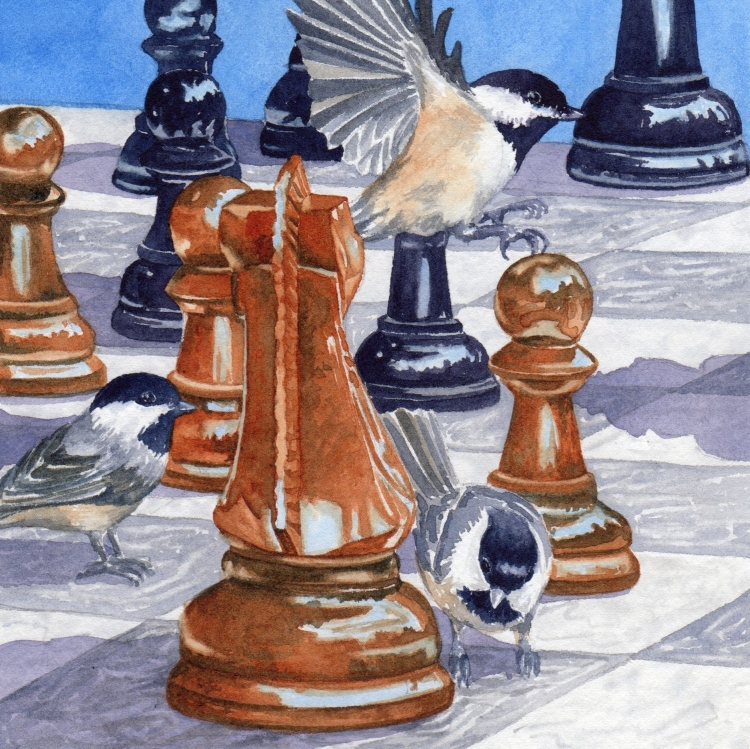 """NFS """"Day 28 Chickadee Chess Checkmate"""" watercolor by Lorraine Watry"""