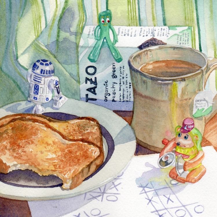 """""""Day 29 Toys Tazo Tea Toast Tic-Tac-Toe"""" watercolor by Lorraine Watry"""