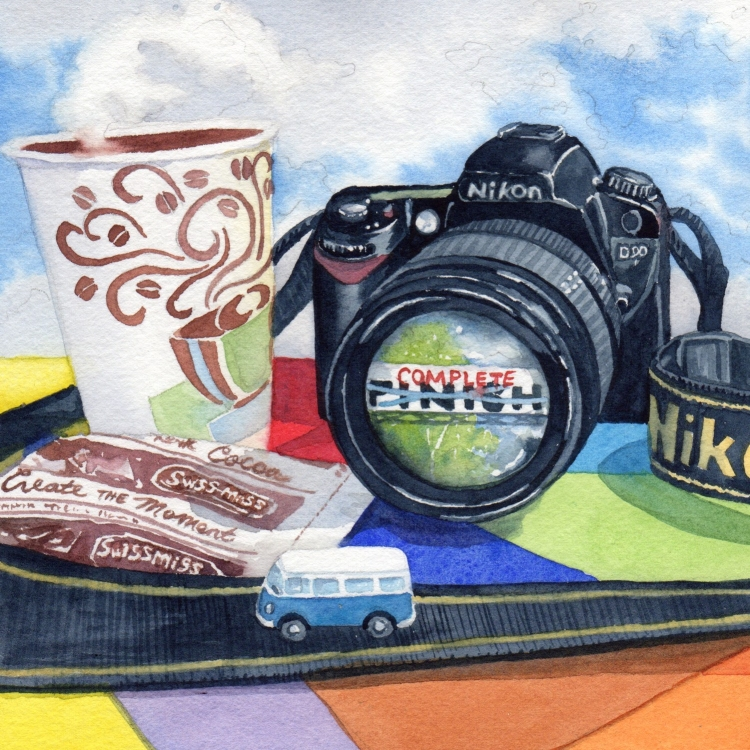 """NFS """"Day 30 Camera Colors Car Clouds Cocoa Complete"""" watercolor by Lorraine Watry"""