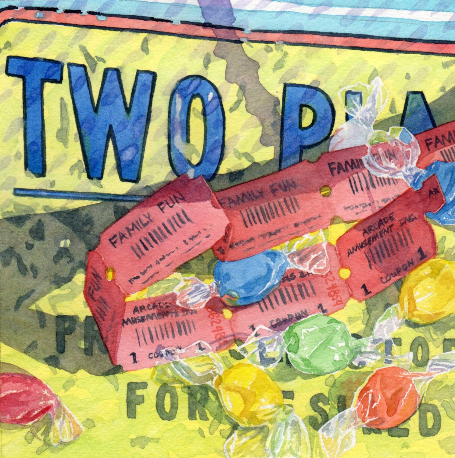 """""""Day 19 - Tickets Taffy Two Player"""" watercolor by Lorraine Watry"""