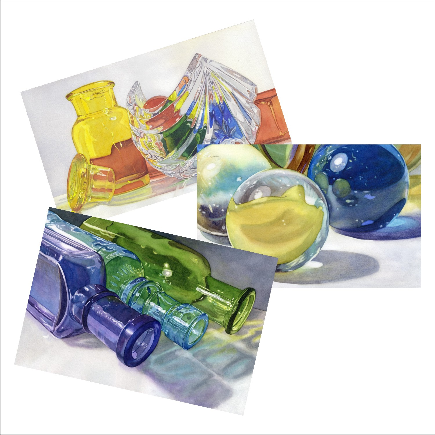 Glass Scenes Blank Note Cards from watercolors by Lorraine Watry
