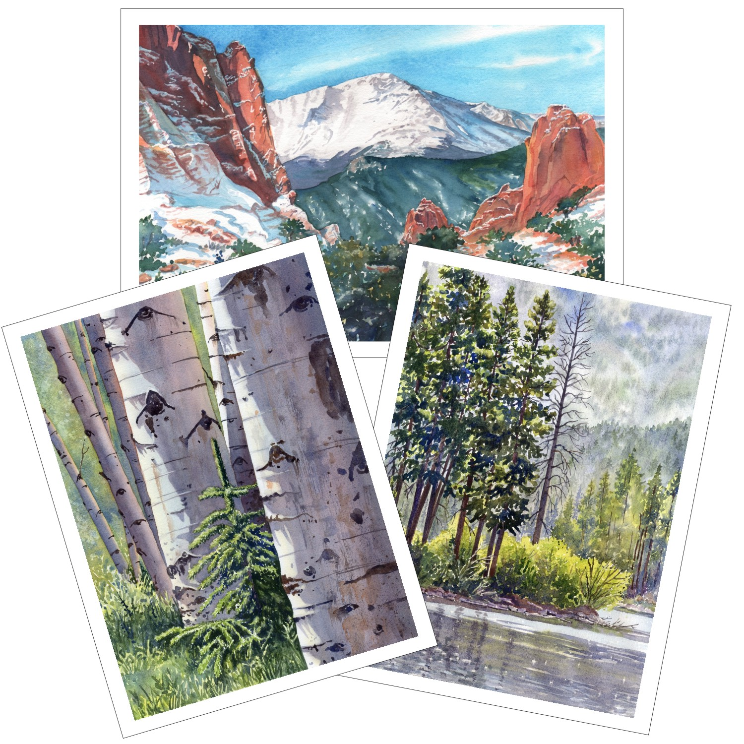 Colorado Scenes Blank Note Cards from watercolors by Lorraine Watry