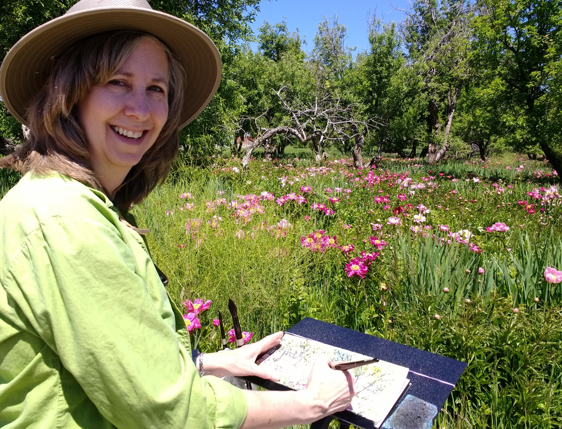 Painting at a beautiful Peony farm.