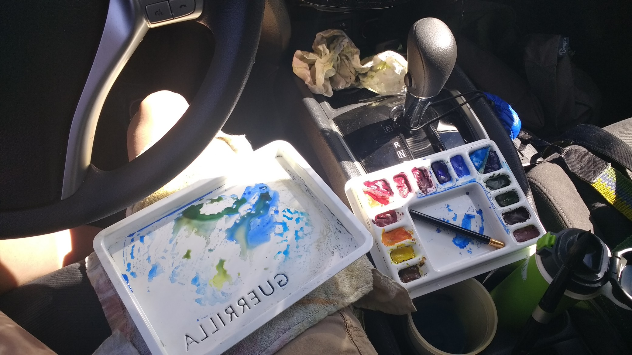 Sometimes I stay in my car and paint.