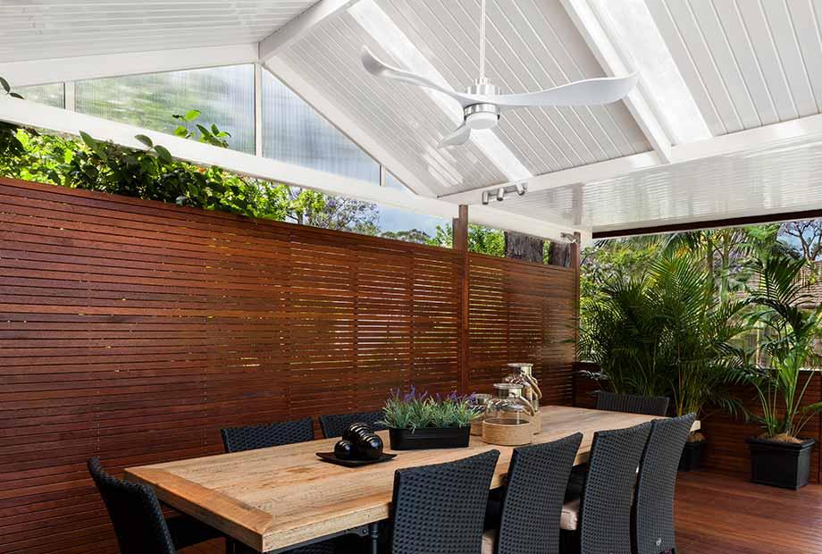 dark timber deck and privacy screen port Macquarie Port patios