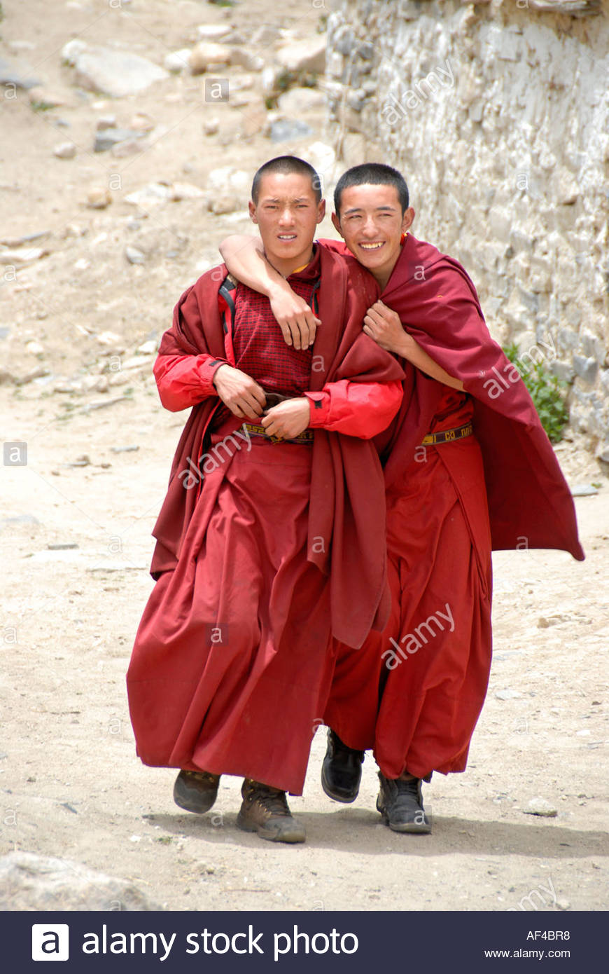 smiling-tibetan-monks-in-red-robes-hug-each-other-rongbuk-monastery-AF4BR8.jpg