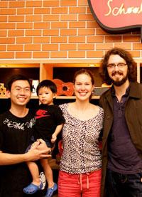 Peng and son KeKoa, Anne Davison and James Hill at  Ukoolele School  in Bangkok, Thailand (December 2011).