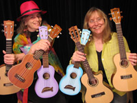 Cathy, Marcy and six of their favourite ukes.