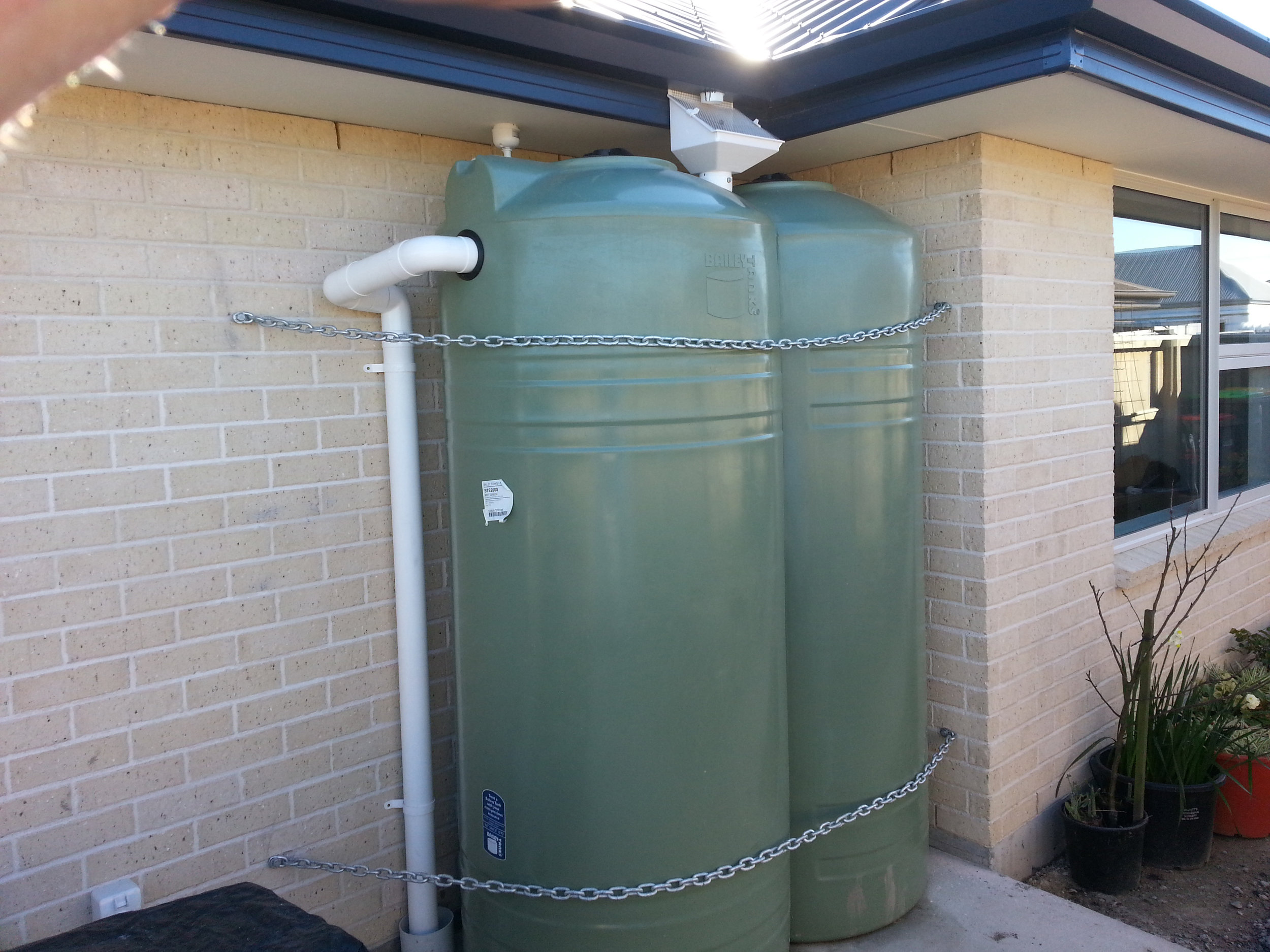 Rainwater catch tanks