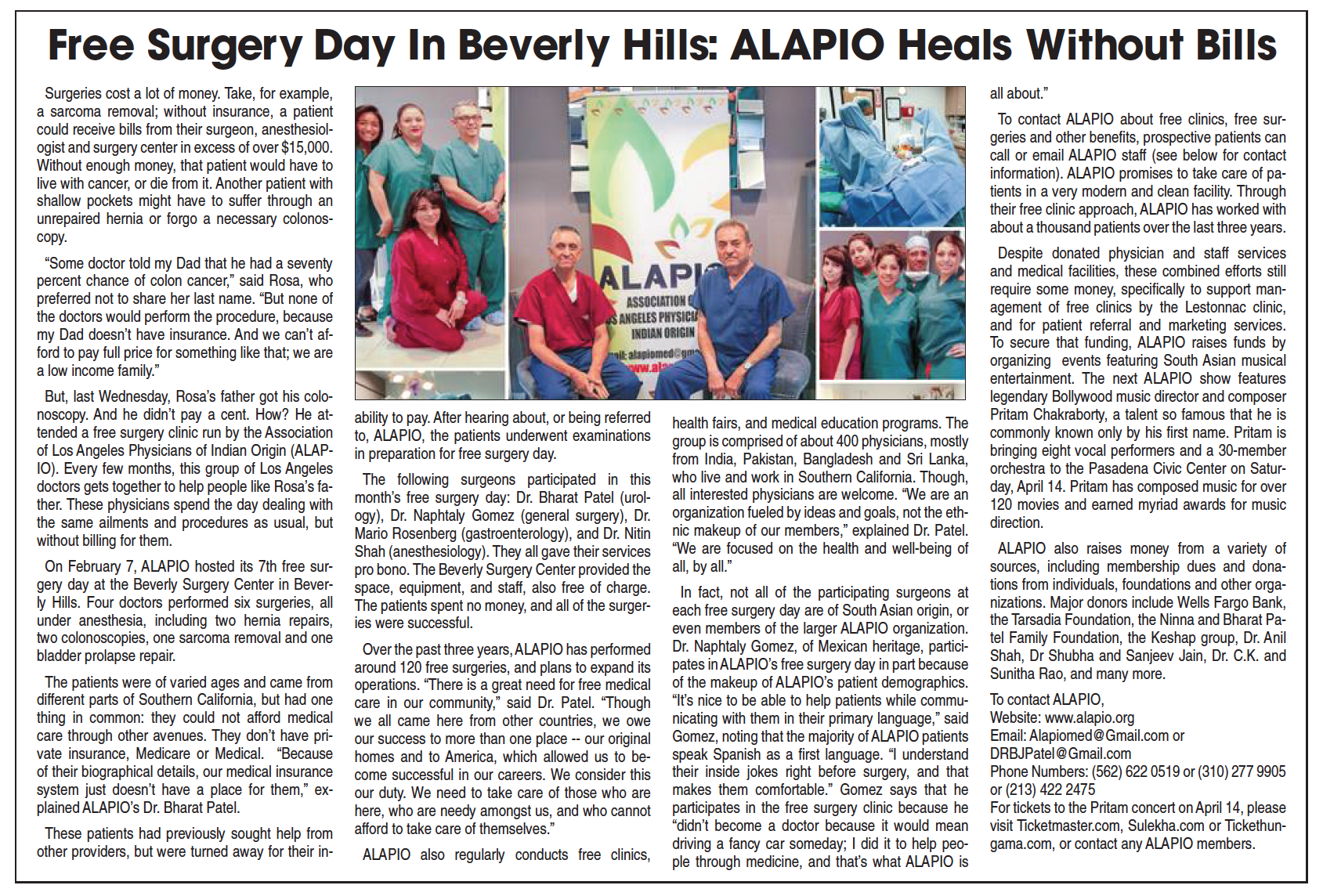 India West and Khazana, April 14th, 2017 Free Surgery Day in Beverly Hills: ALAPIO Heals without bills