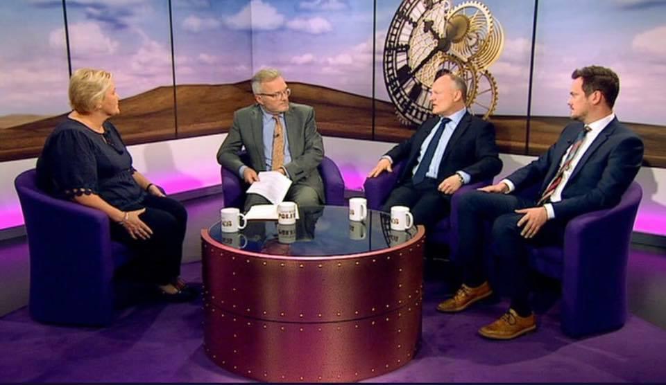 Clare Lambon, CEO of Stop Domestic Abuse, Peter Henley BBC Political editor, Royston Smith MP and Stephen Morgan, MP