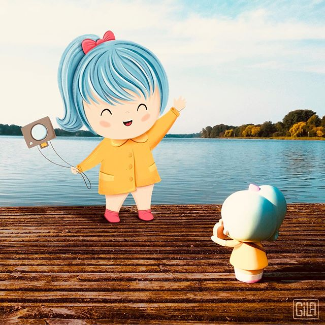 Confession time. Anyone else have a guilty pleasure? Mine are Momiji dolls. Yes, I am 44 years old and still play with dolls. They have a little house, and their own wallpaper, and sometimes I draw them. So sue me. :) This is Pixie Pixel, by @momijihq.  #momijidolls #photobashing #childrensillustration #photographersarecute #bluehair #nopicsplease #digitalart