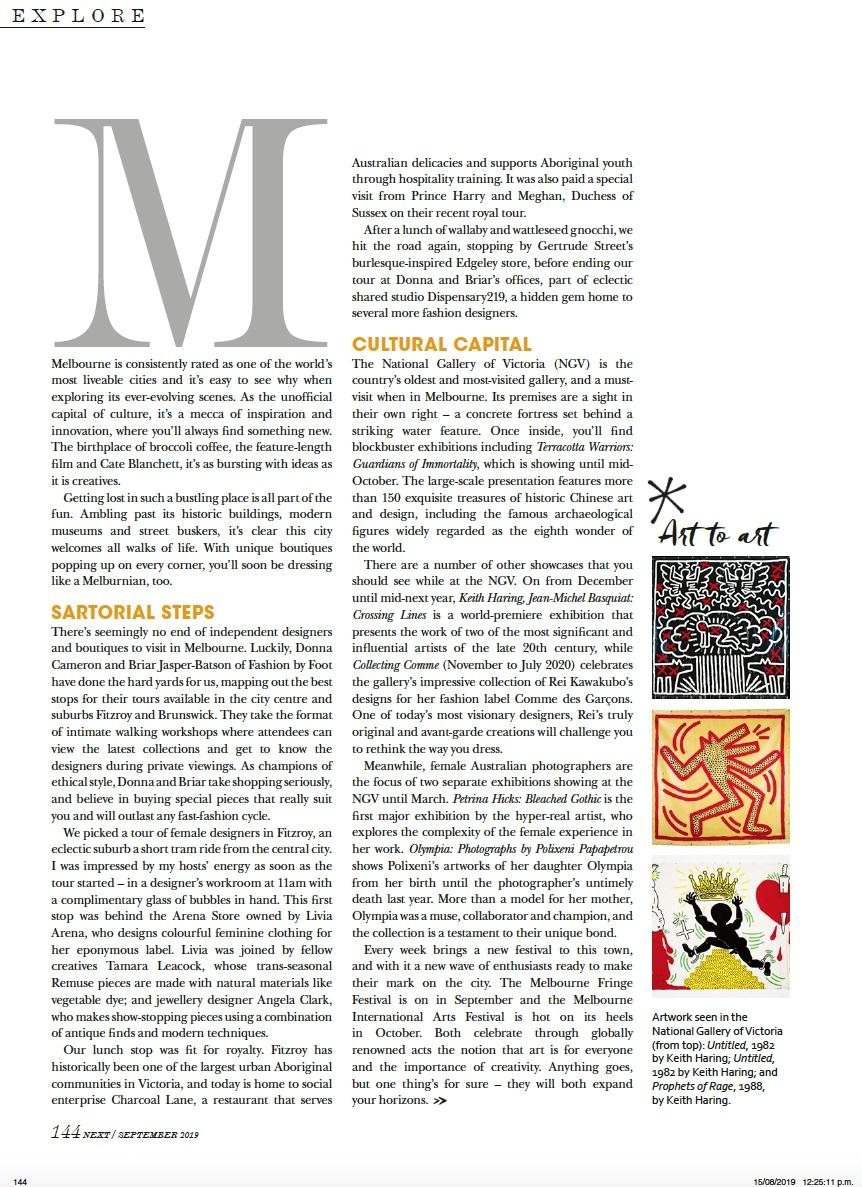 Next magazine NZ Melbourne fashion article