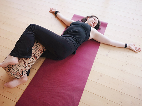 Laura Wynne - Supported Reclining Twist (Supine Twist) Pose at Aruna Yoga, Rathcoffey, Clane, Maynooth, Kilcock, Donadea, Prosperous, Straffan, Sallins