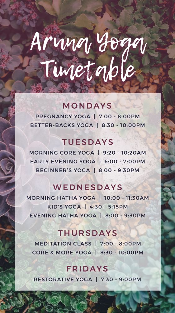 Aruna Yoga Studio_Class Timetable - Summer Block
