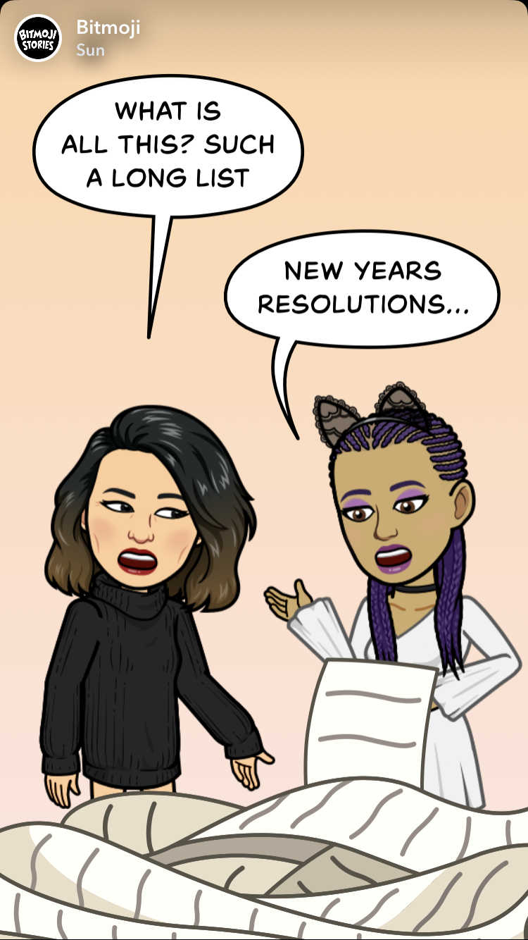 @bitmoji stories  - resolutions