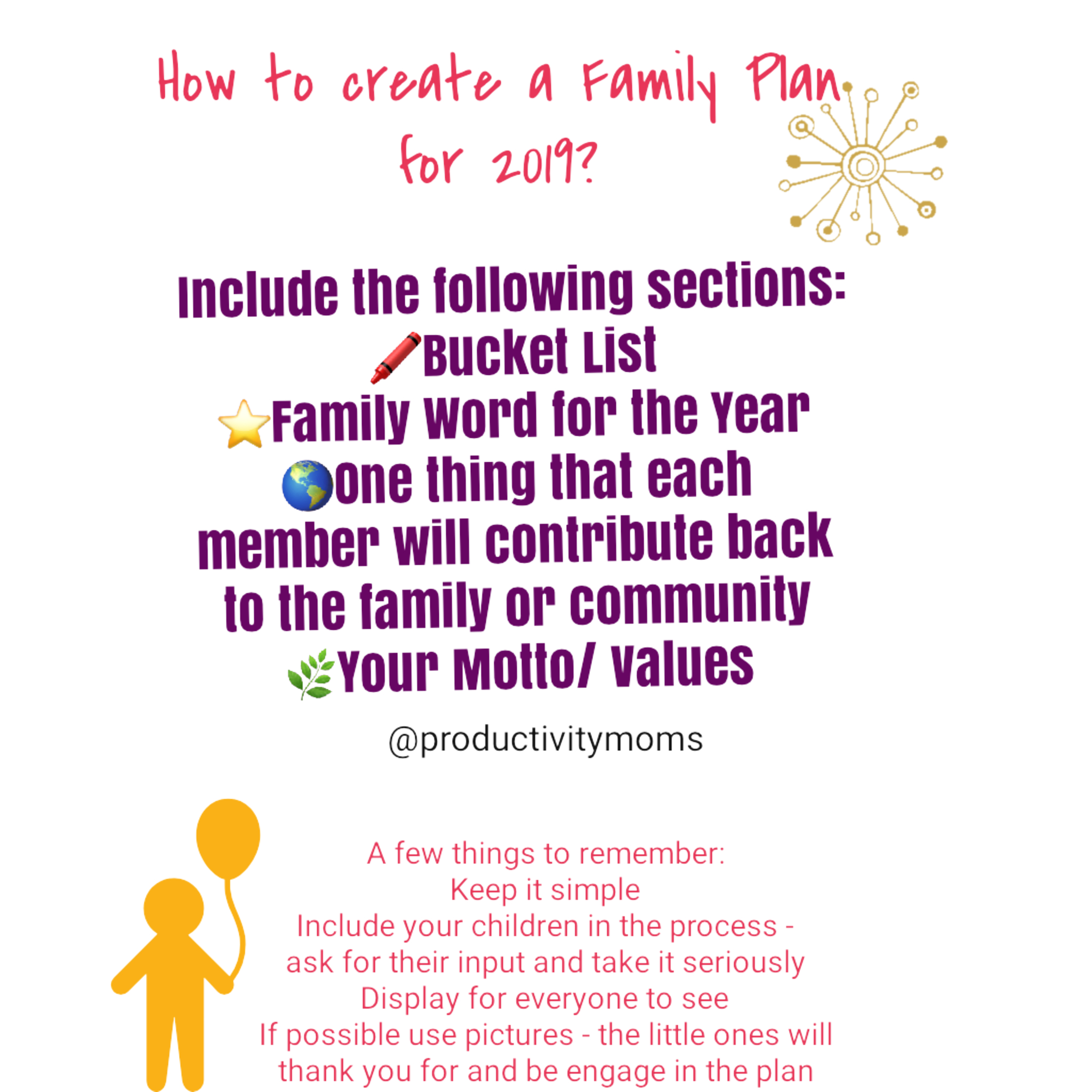 First determine what it is that you want to include and important to you.   We usually keep it one sheet and simple. We also try to make it visual (for the little ones) by putting pictures that resonates with our plan on the back of it (voila- your vision board).   In ours we include-   Bucket list-  activities we want to do as a family     family word of the year  - this is our mantra and easily reminds everyone what is it that we want to strive for or feel     goals  - what each family is contributing back to the family or want to do for themselves.     Show of Kindness - what are the acts that we will do this year to show that we care in our community, to our family, friends and ourselves.     Family Motto & Rules-  this is where we include what is it that we stand for and our rules for the years. Try to keep the rules to no more than 3.    the peole we want to spend time with most - this can be people that we want to keep in touch with or create a stronger bond as a family, or that we lost touch with and want to rekindle the relationship  and that's it! Our kids love it and feel a sense of accomplishment and understanding on how we will use the year.    And to make it easier for you, we have created this download where all you have to do is include the information in each box. Then you can use the back as your vision board and include the pictures. Go to Goodies to download it!