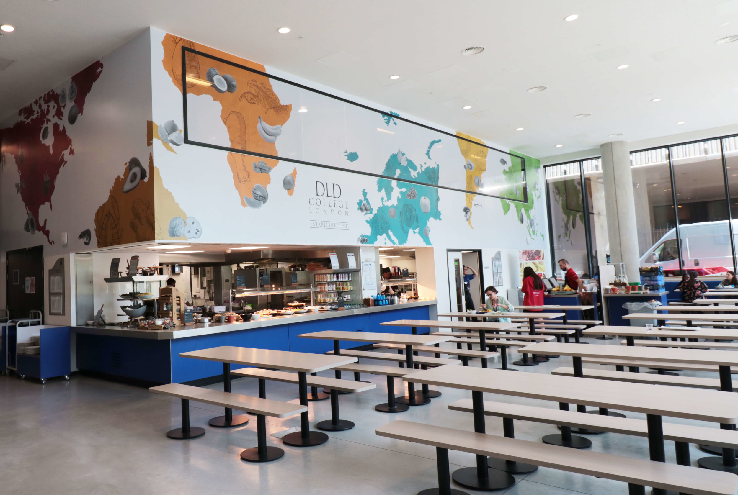 Canteen wall graphics, school restaurant wall art