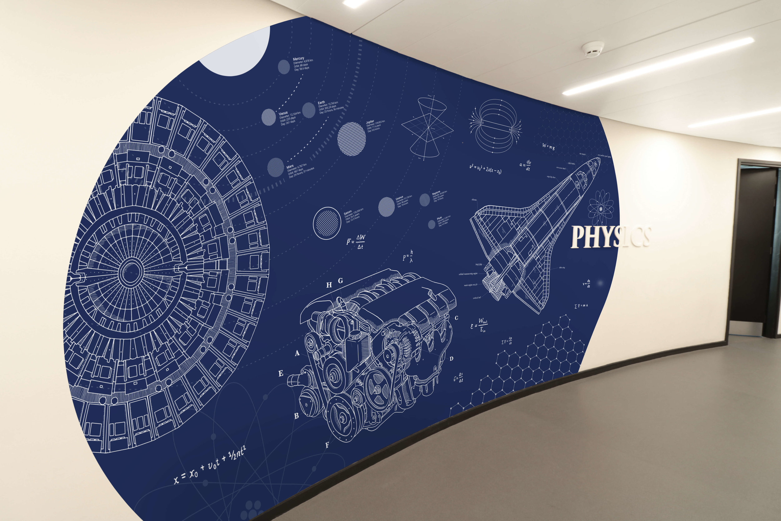 DLD College science wall graphic display