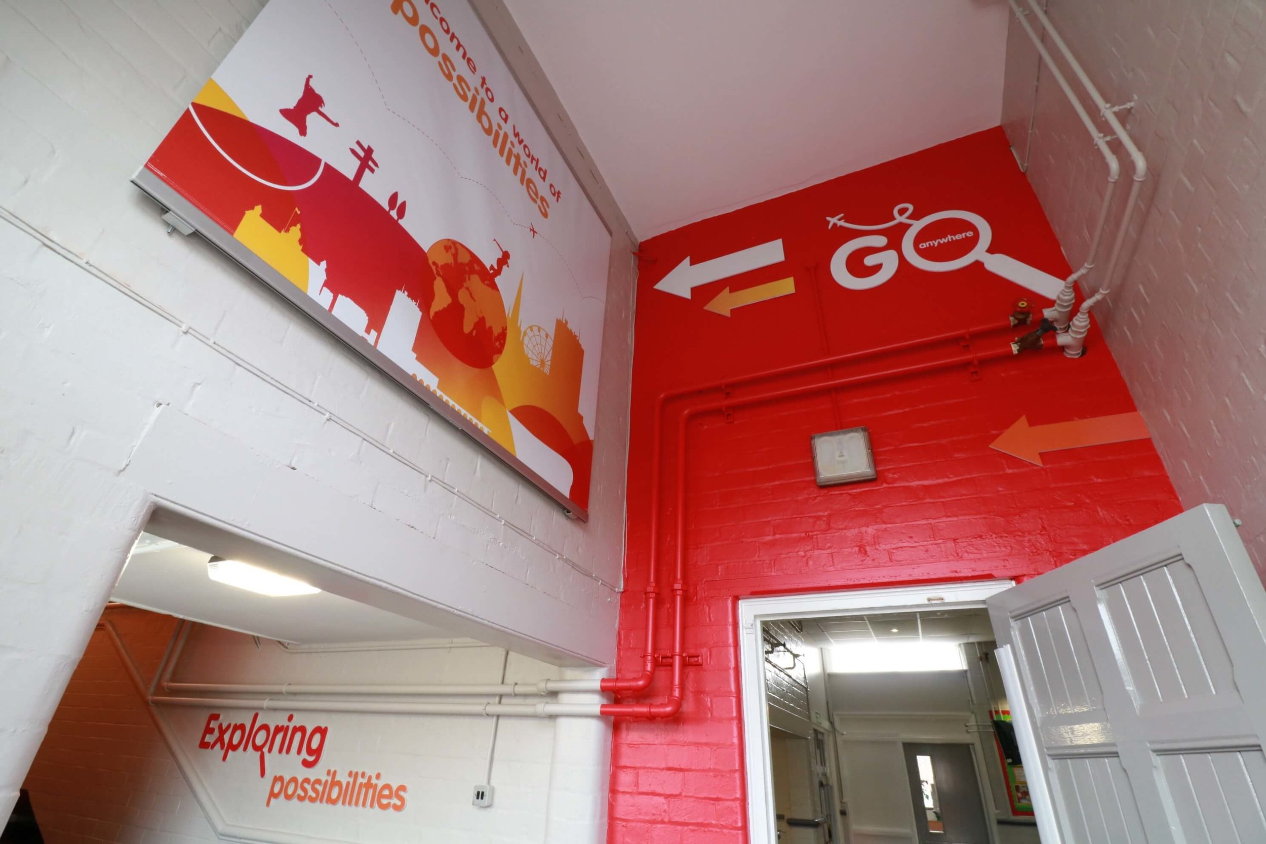 Primary school staircase signs and wall graphics and banners