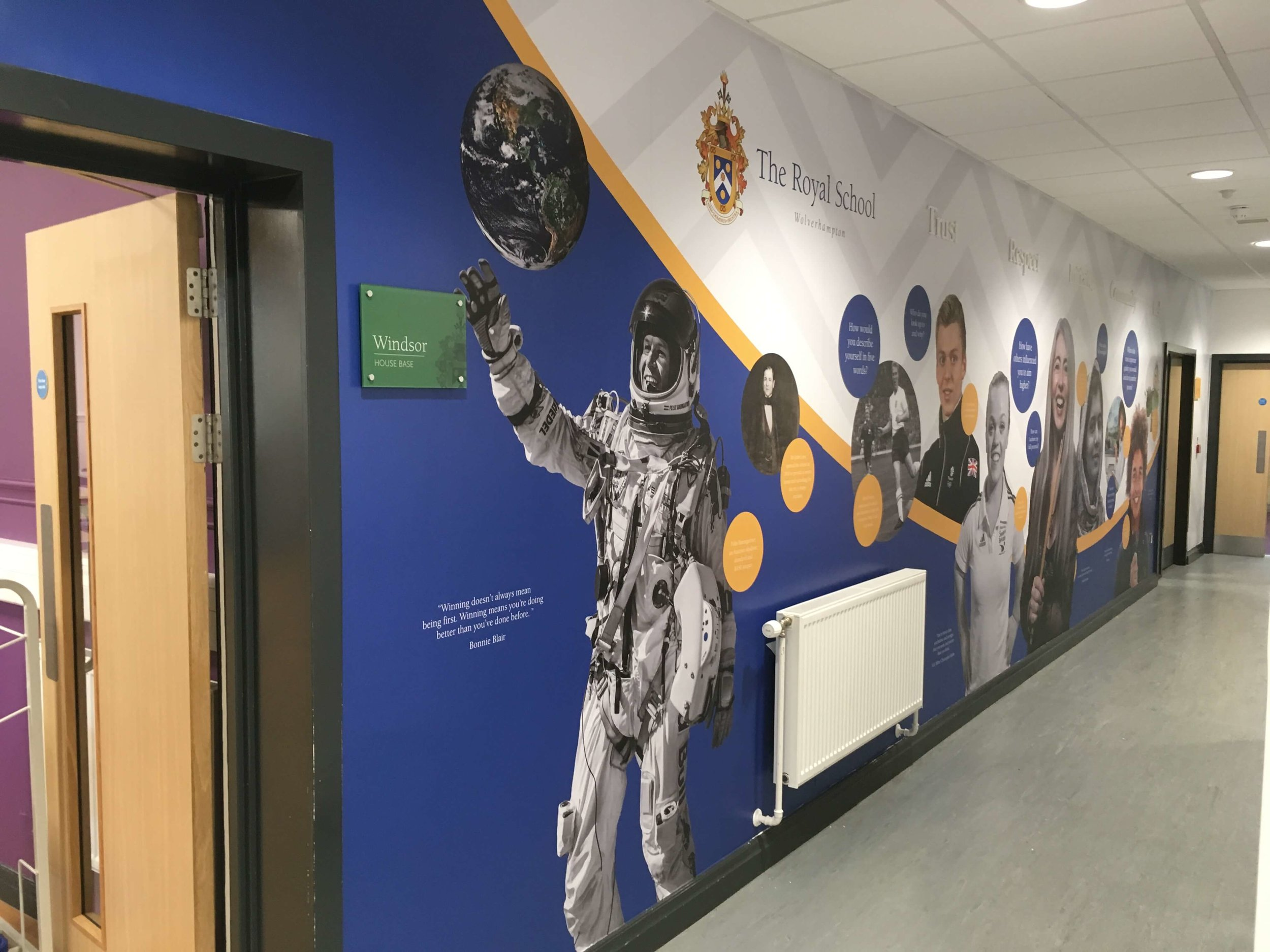 Royal School brand and values wall graphic, school wall graphic design