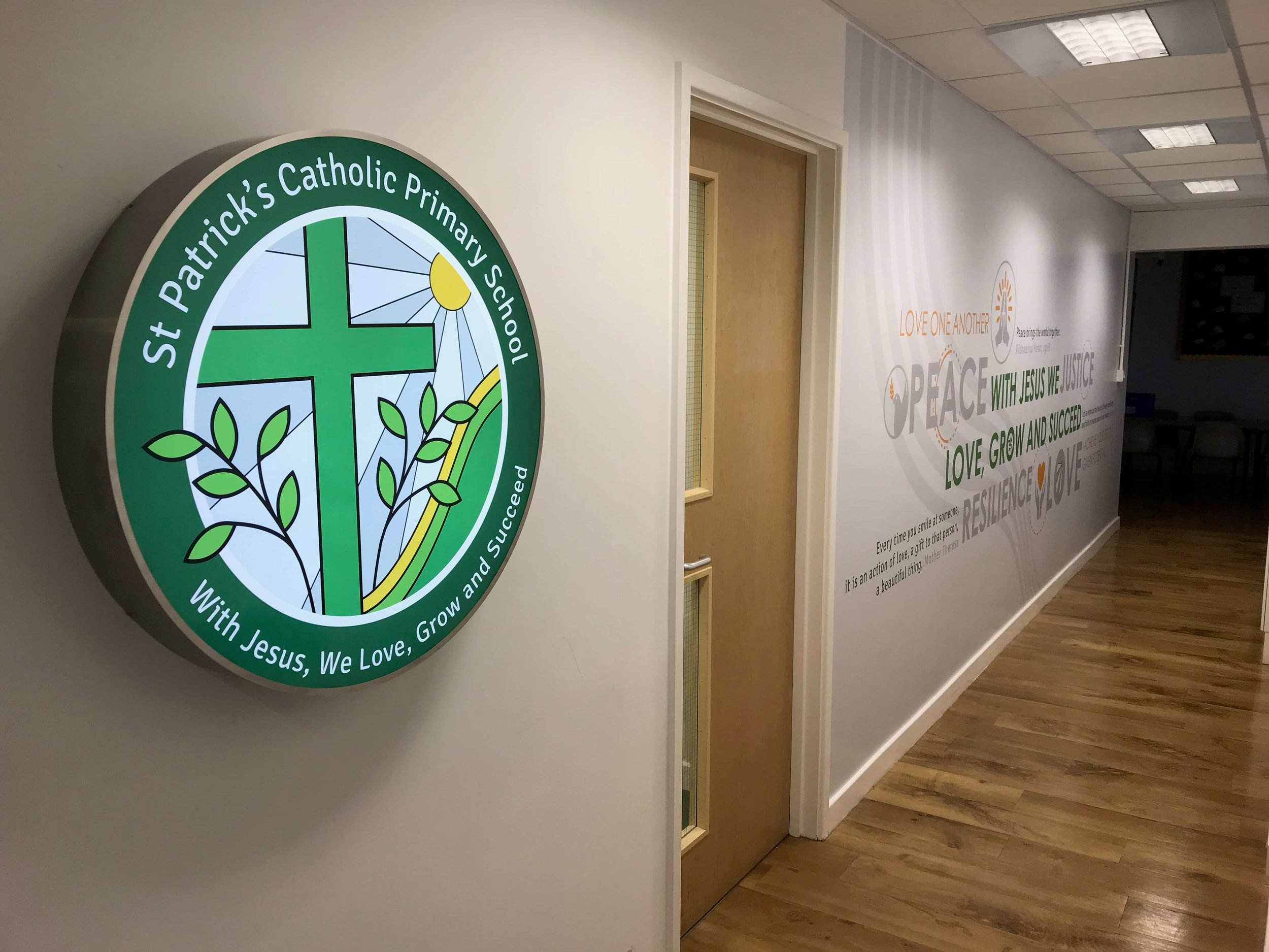 St Patricks brand & values wall graphic, school wall graphic design