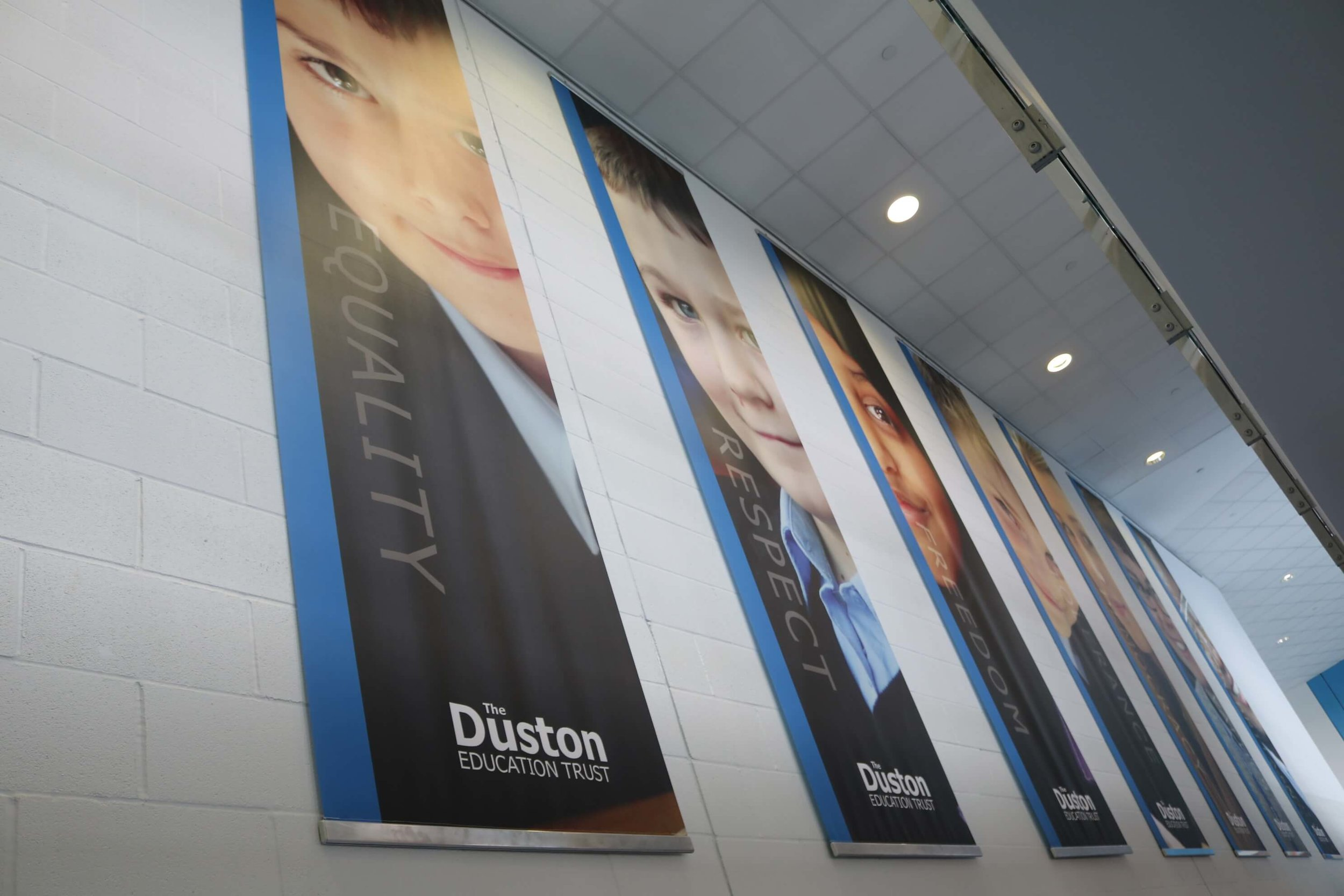 Brand and values wall banners, school wall graphic design