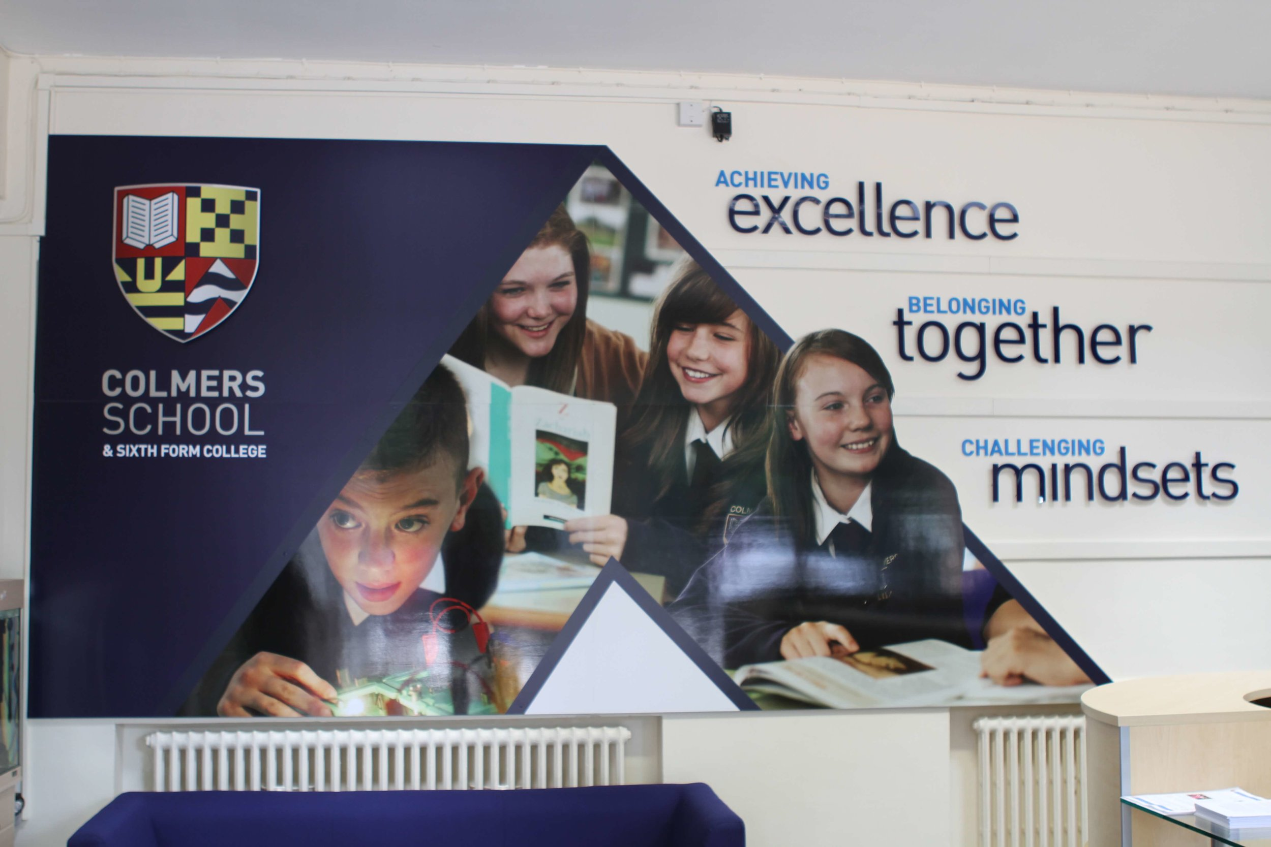 Colmers school brand wall graphic, school wall graphic design
