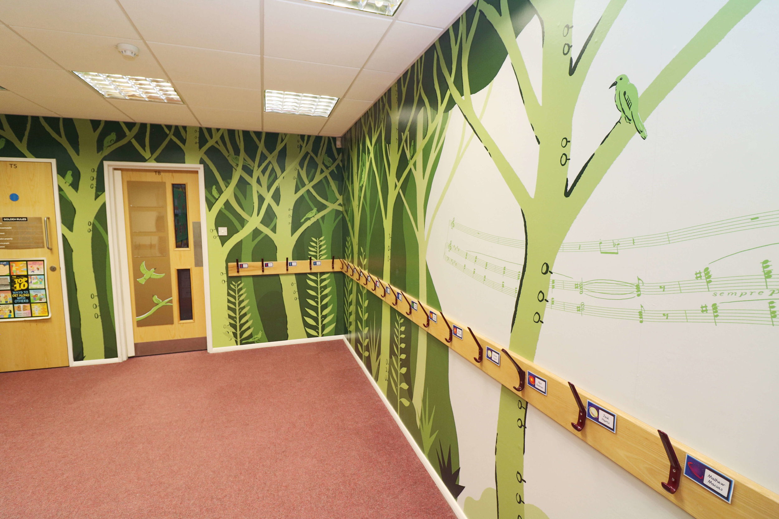 Cranmore School music themed wall graphic, mural