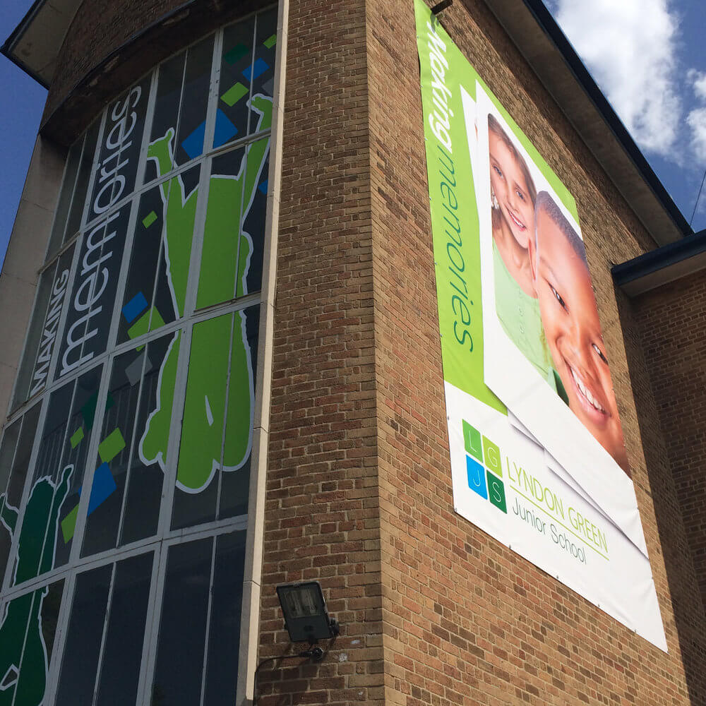 School signs and exterior graphics, external window graphics for schools, brand signs, built-up lettering