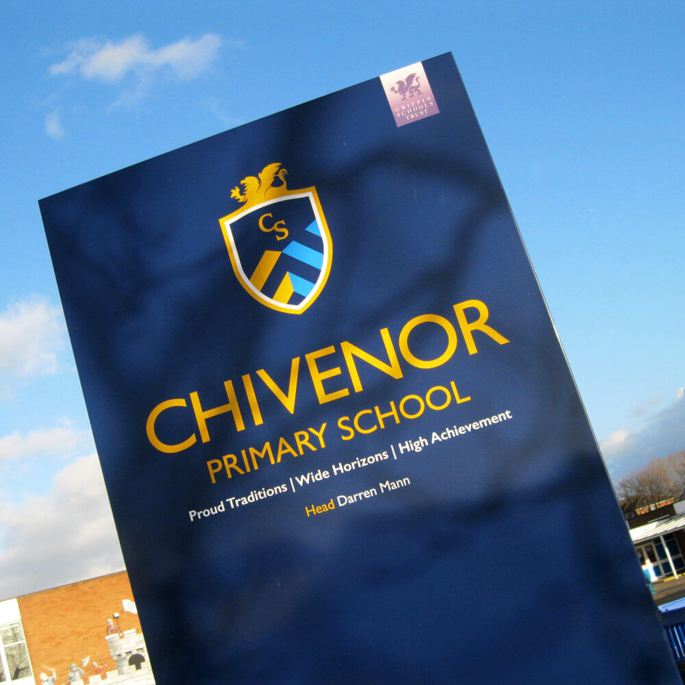 Brand sign, school totem sign, Chivenor school gate sign