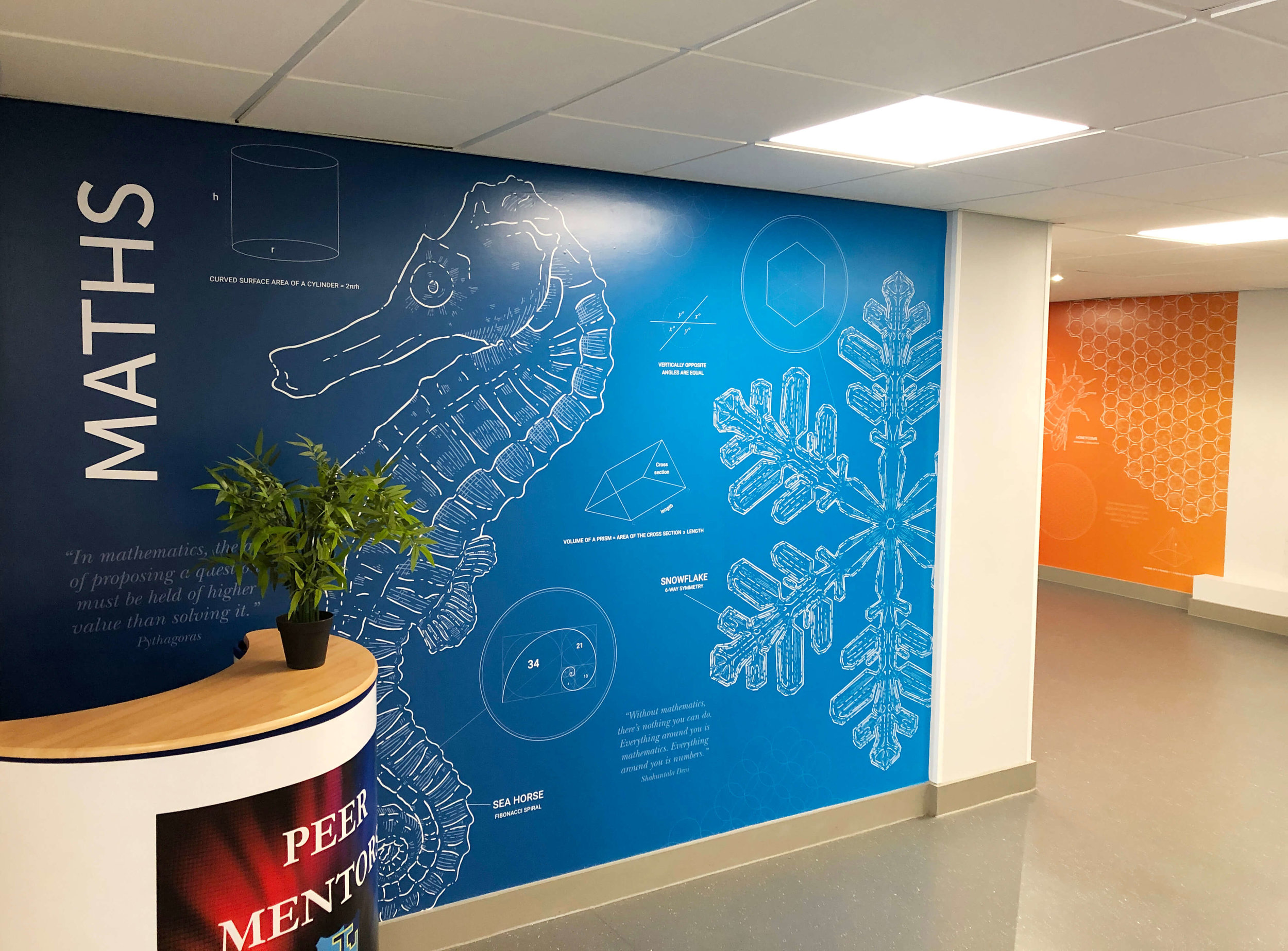 Maths wall graphic for school | School wall art | Birmingham, Coventry, Midlands, UK