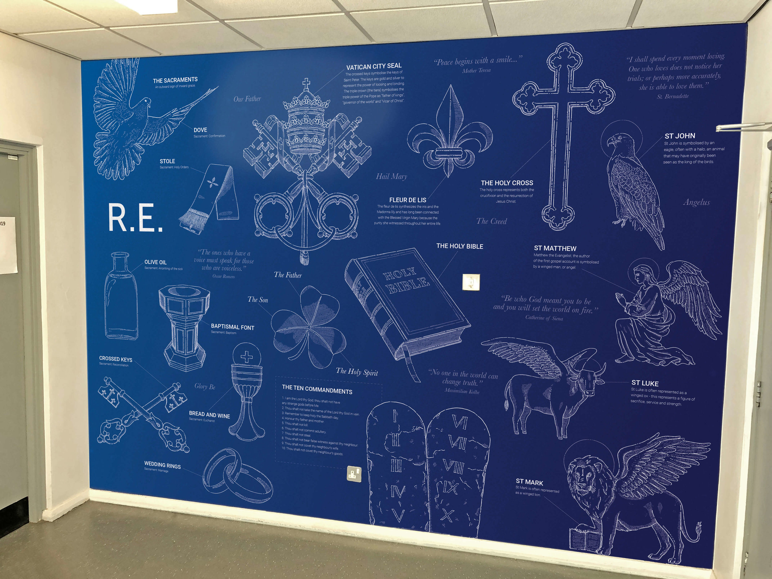 Inspiring Catholic faith wall mural for school | School wall art | Birmingham, Coventry, Midlands, UK
