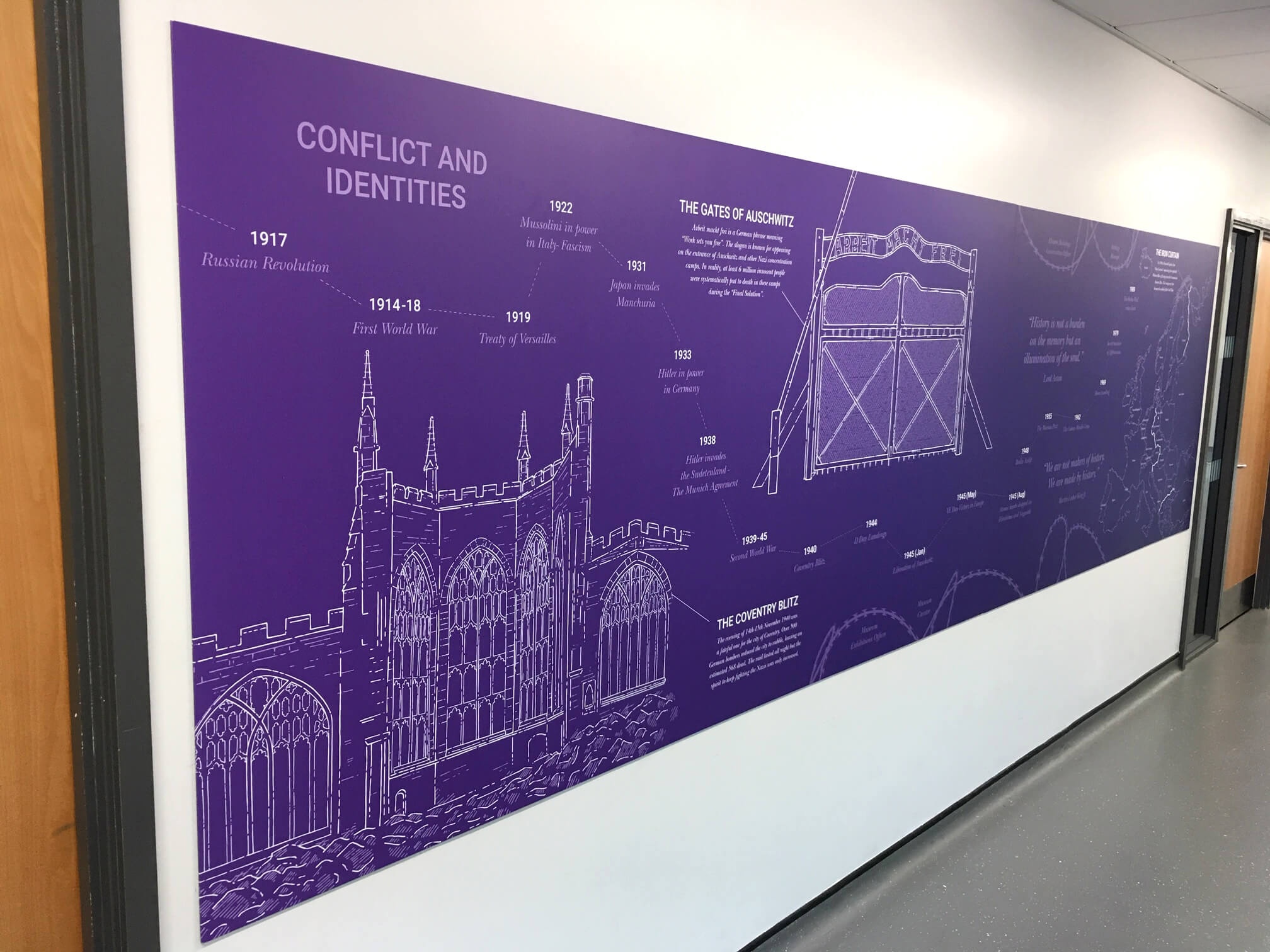 Detailed Humanities wall murals for school | School wall art | Birmingham, Coventry, Midlands, UK