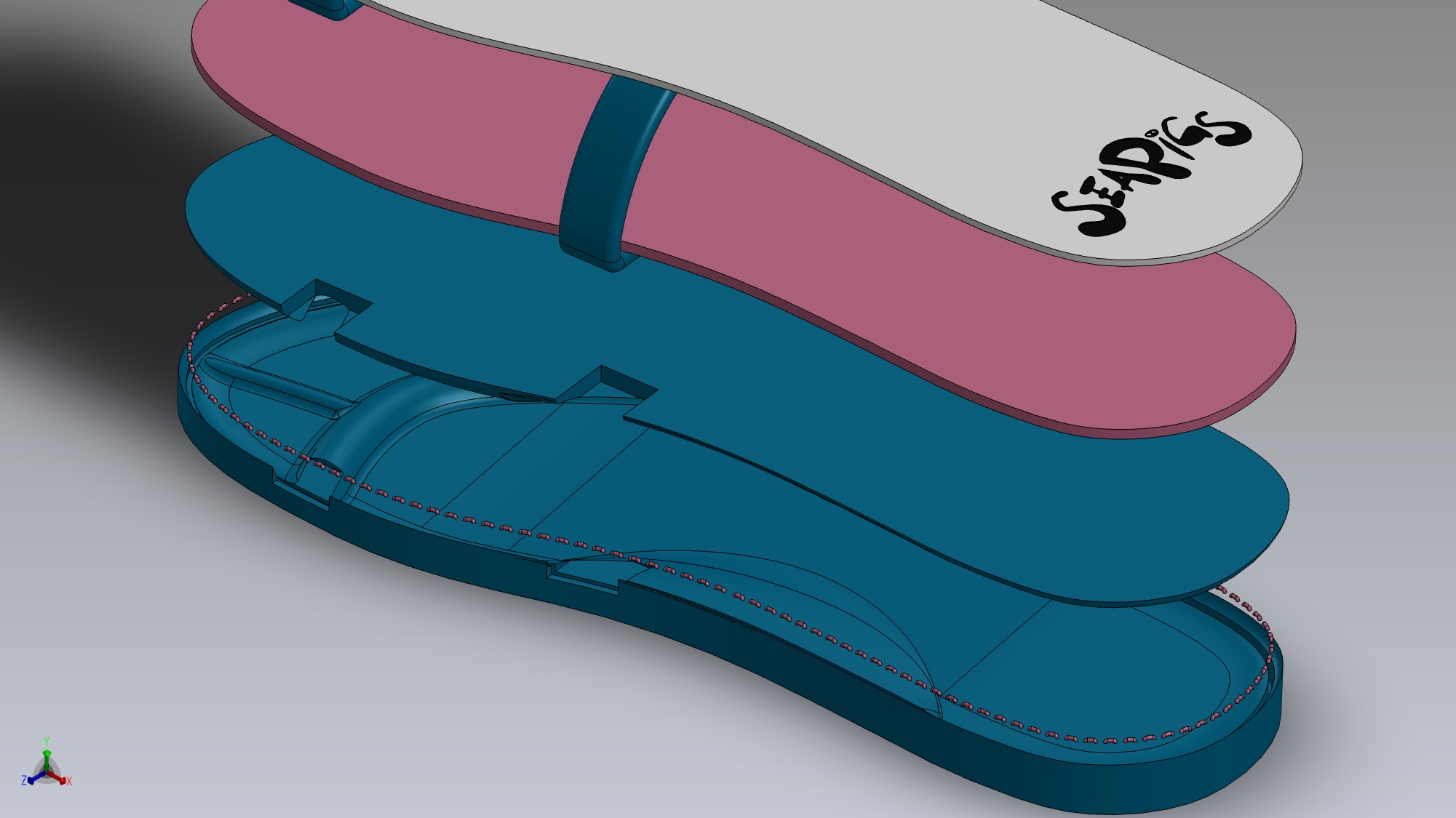Four-layer exploded view of the SeaPigs Drifters 4 layer sole technology