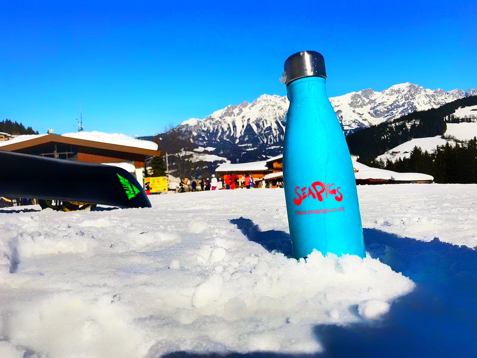 A SeaPigs water bottle in Söll, taken by Rachael White