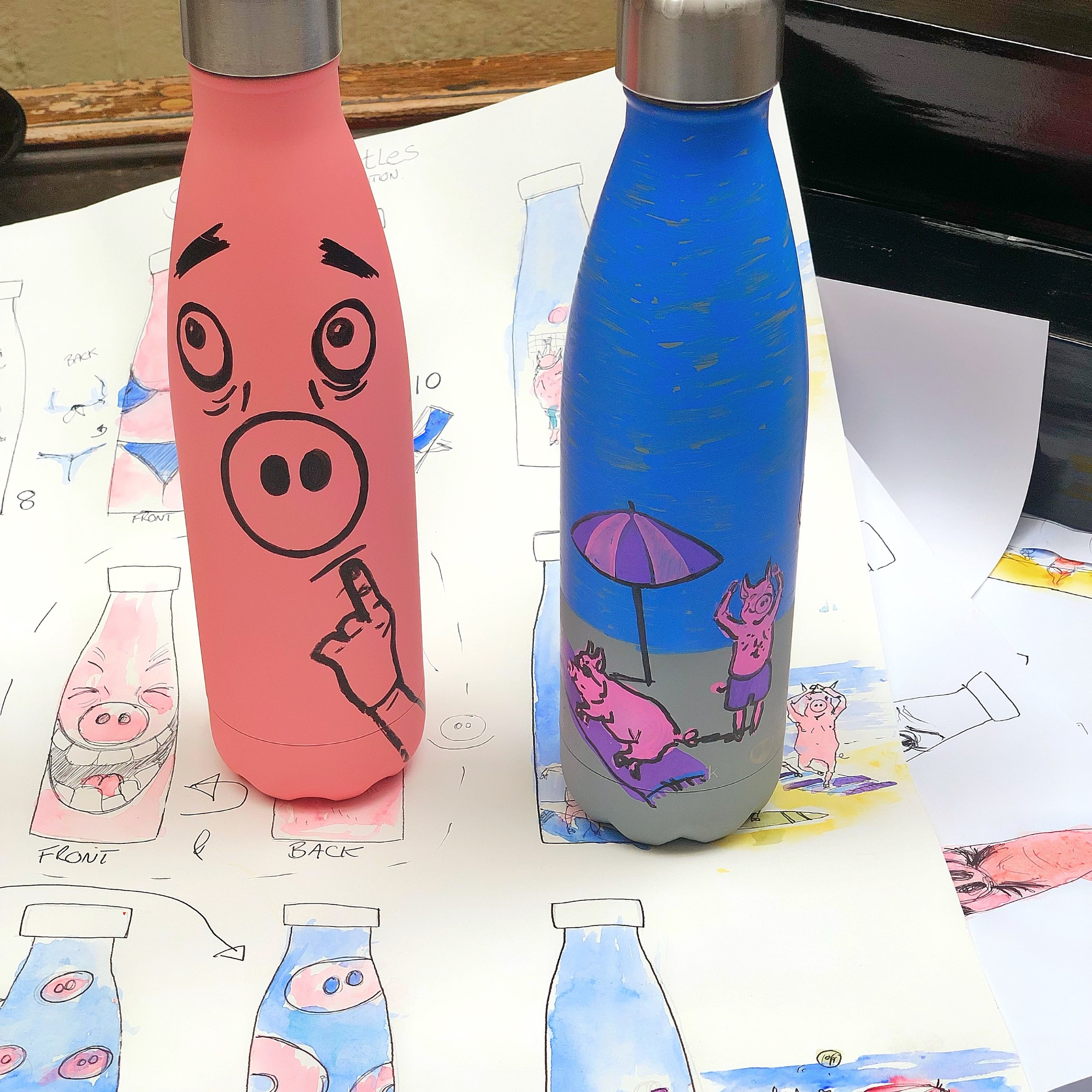 SeaPigs bottles - the ultimate drinks companion - original art work - hand drawn