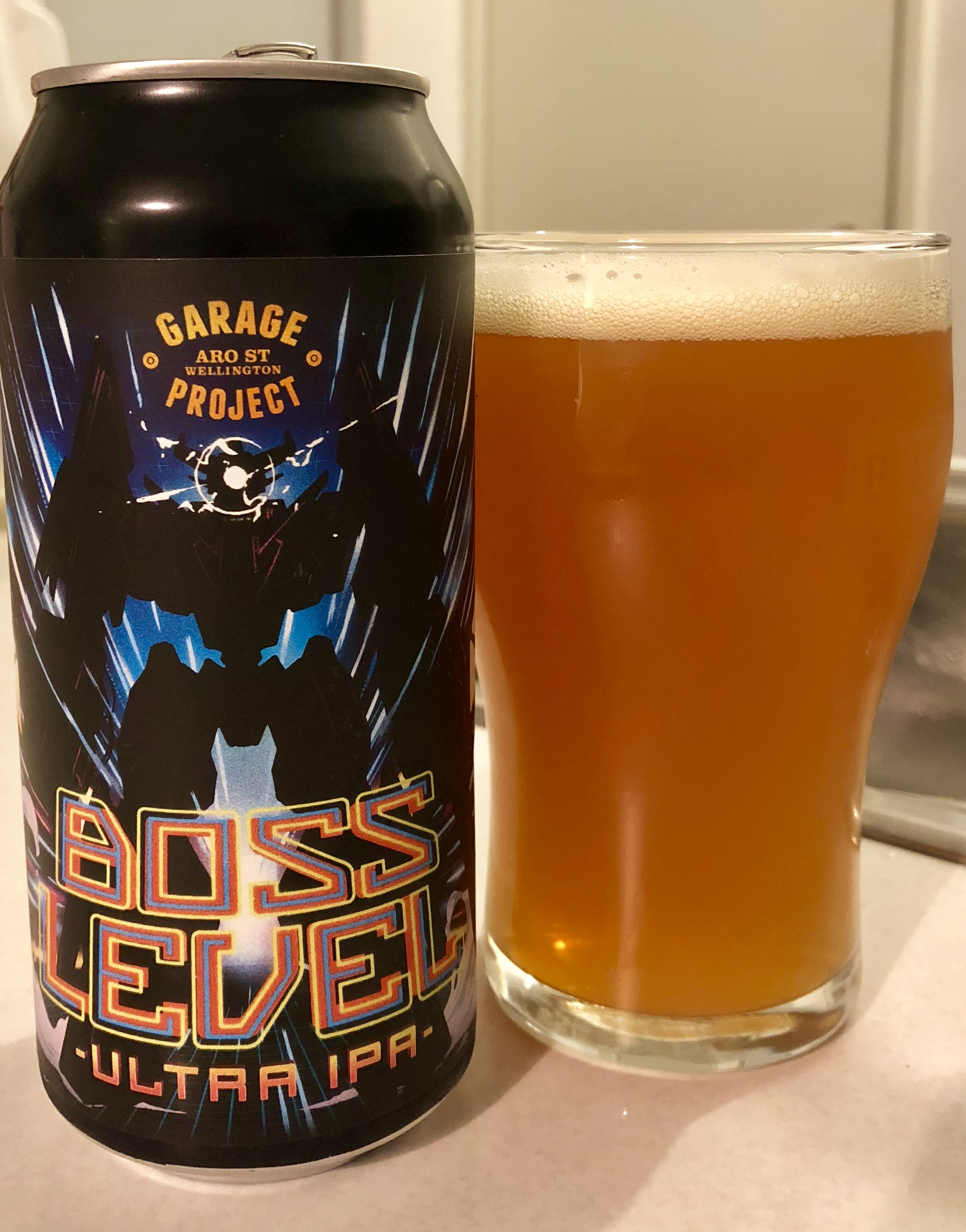 Garage Project Boss Level Ultra IPA (8.5% abv): NZ craft-leader Garage Project ascends to 'Boss Level' with five bold US hop varieties, a bedrock of malt support, and 100 IBU's of bitterness. Comes out all guns blazing and is all the better for it.