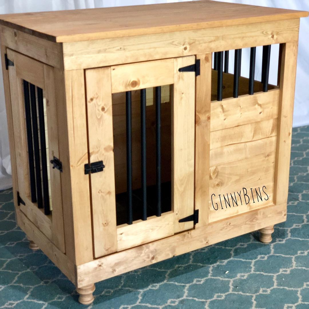 "I absolutely am THRILLED…. - with Ginny Bins!! I was searching for a ""furniture like"" kennel that could also help combat my dogs anxiety. Ginny was SO amazing every step of the way and gave me her opinions and worked with me changing my mind and babbling trying to work out what exactly I was looking for. We had a delivery snafu, as I was originally supposed to pick up the kennel and could not. She worked with me and offered no less than 5 solutions and held it for me for almost two weeks until someone could help me get it to my home. I have the kennel in place now and it's PERFECT. My dog has more space, and 2.5 walls are boxed in the way he likes so that he feels safe. 20/10 would recommend to anyone looking for A++++++ customer service and a great product that will be in my home for many years.- Rachel Ann (GinnyBin Single L)"