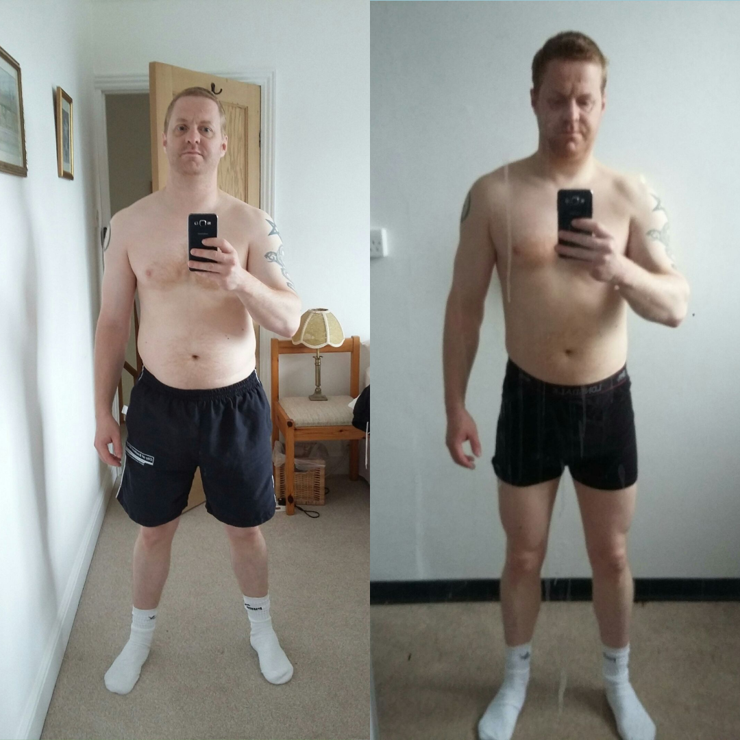 "James G  – lost motivation, through having no structure or plan and wanted to achieve fitness again to be competitive at sport and feel better about his body! To lose more fat and become more athletic.   ""I signed up with James, on a 12 week programme. my biggest problem was staying motivated, that was solved. Having James on hand all the time, with encouragement & very helpful advice on setting realistic targets to reach. Still using that help/advice I got from him Daily.  Very very helpful & knowledgeable, fully recommended his service""   Want to know more?    contact us here"