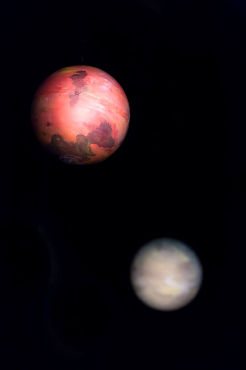 Mars. Styrofoam and Latex Paint. Laura-Beth Bird A Life of Galileo. Theatre St. Thomas. Photo Credit: Andre Reinders