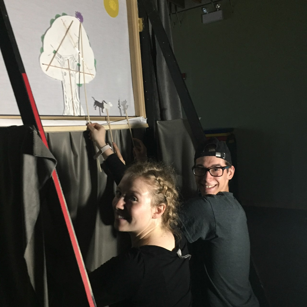 Neomi McGowen and Dustyn Forbes. Shadow Puppet Show. FAA Residency 2019. Photo Credit: Lisa Anne Ross