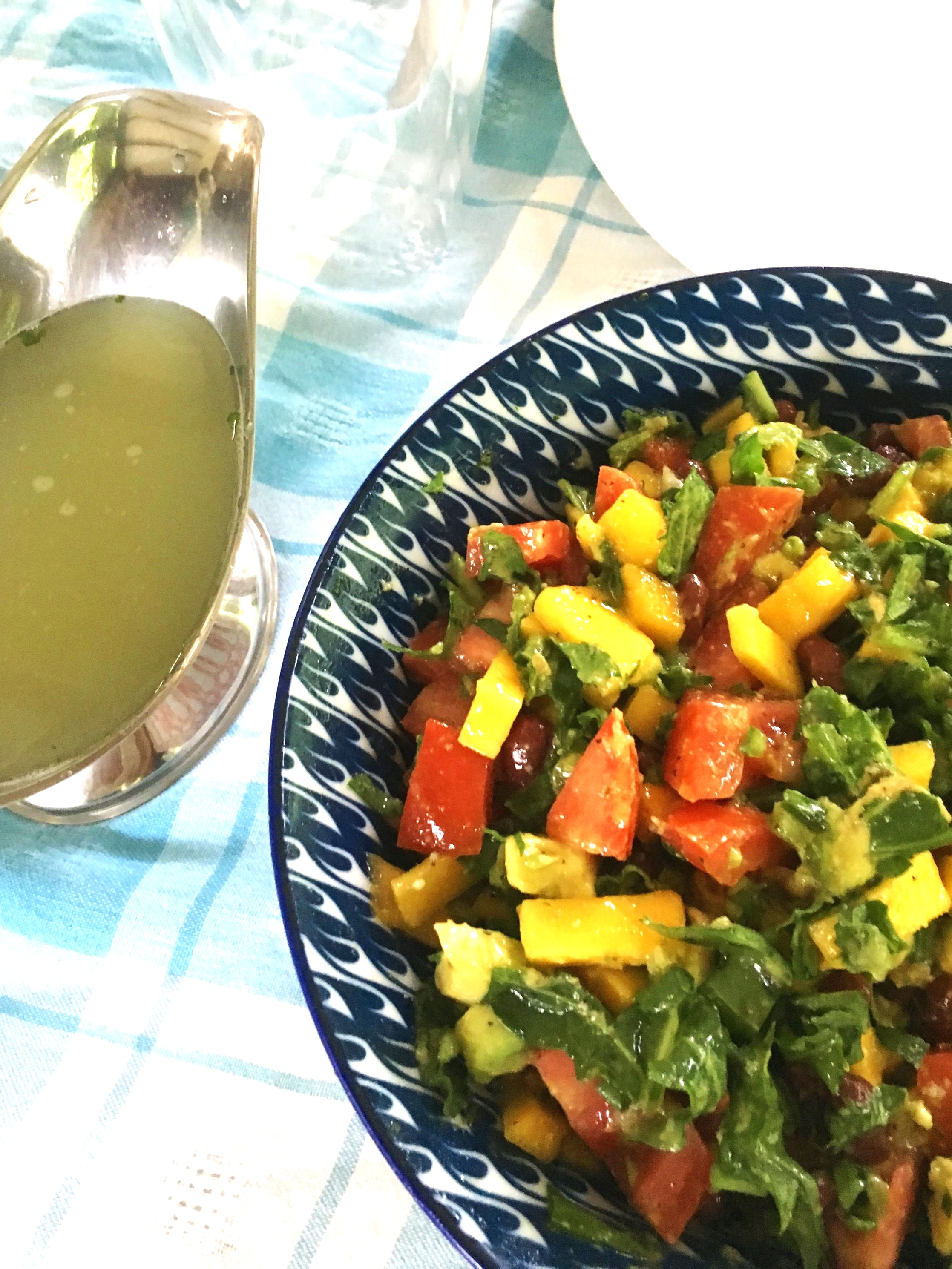 Alkalizing Sweet Potato and Tomato Salad - Serving Size:2 peopleIngredients:1 avocado1/2 large sweet potato2 small tomatoes1 cup of arugula (chopped)1/4 cup basil (chopped)1 lime (juiced)1 tsp extra virgin olive oil1 pinch saltDirections:1. Peel potato and boil for about 10 minutes (until just tender).2. Meanwhile, dice up the remaining vegetables and mix together.3. When potato is cooked, dice it up and add it to the salad.4. Mix together the olive oil, lime and salt and pour over dressing and serve.